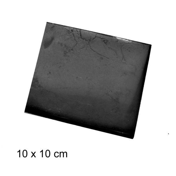Gepolijste Shungite tegel - 10 x 10 cm - anti straling - anti wifi - 4 G - 5 G - shungite kamer betegelen www.shungite-nederland.nl