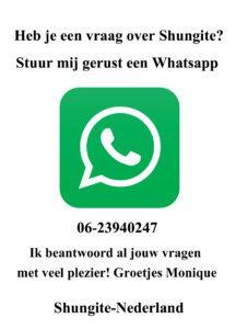 Whatsapp vragen Shungite Nederland